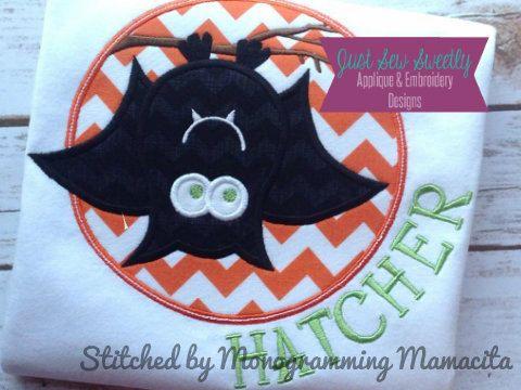 Cute Bat Halloween Applique Design  by JustSewSweetlyDesign, $2.99