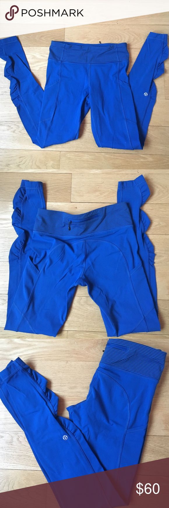Lululemon leggings in size 4 Cobalt blue Lululemon leggings in size 4. Mild pilling in the butt area and behind the ankles. Otherwise in great condition! lululemon athletica Pants Leggings