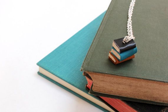 Colourful Book Stack Necklace - Pile of Books Jewellery - Miniature Handcrafted OOAK Book Necklace - Black, Teal Yellow Ochre https://www.etsy.com/nz/shop/ExLibrisJewellery