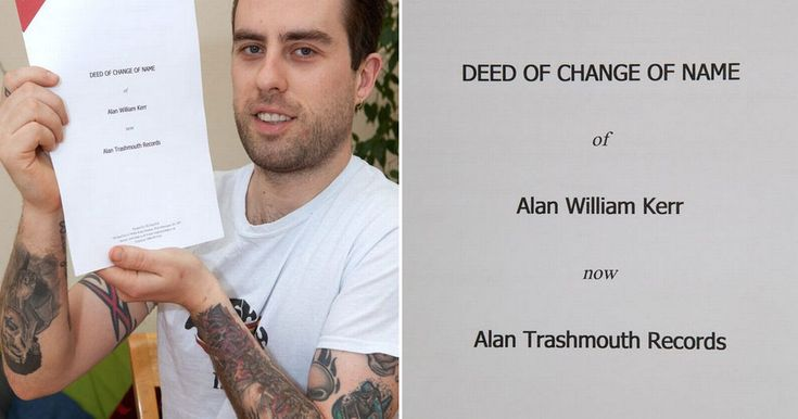 Alan Kerr, 33, changed his name by deed poll to an independent record label to support his art studies Trashmouth Records
