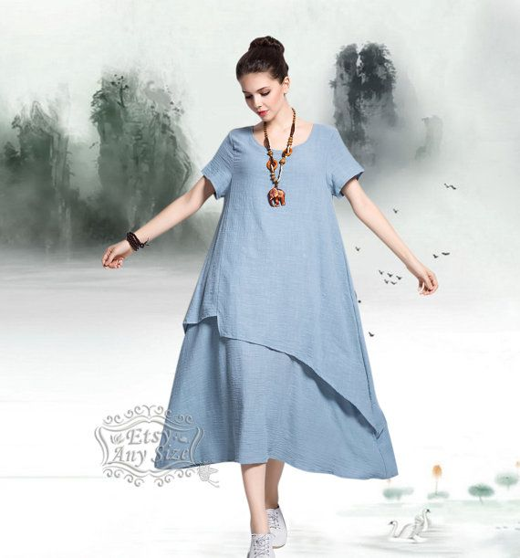 Anysize retro soft linen & cotton dress plus size dress plus size tops plus…