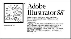 """Sejarah Adobe Ilustrator (Ai)  Ai mulanya digarap Adobe Inc pada bulan Desember 1986 (pengiriman pada bulan Januari 1987) sebagai komersialisasi di rumah Adobe huruf pengembangan perangkat lunak dan PostScript format file. Pada tahun ini Ai masih disebut """"Illustrator 88"""" yang resmi dirilis pada tahun 1988."""