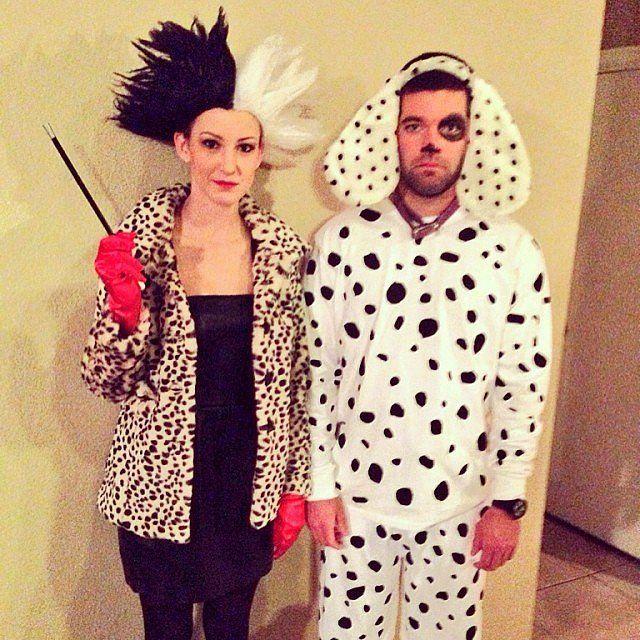 Disney Halloween couple costume: Cruella de Vil and Dalmatian Puppy
