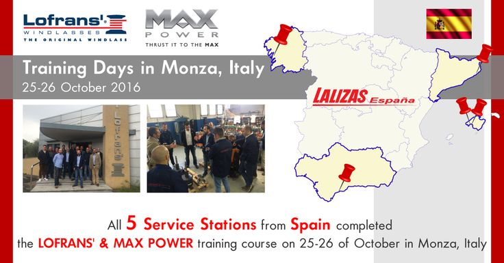 Lofrans' and MaxPower in their continuous effort in providing the best service in all Local Markets invited in Monza Italy the Spanish Service Stations in order to provide up-to-date training courses and also present the new products. Dinatec nautica, Tecnocean Balear, Marina Del Sol, Baitra, Nautivela Viladamat