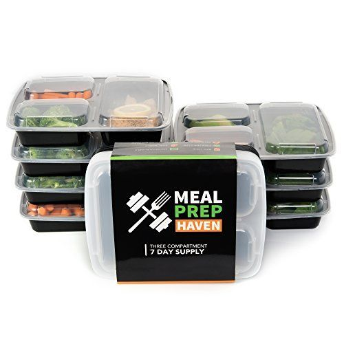 Meal Prep Haven 3-Compartment Food Containers with Lids for Portion Control, Stackable - Leak Proof, Microwave, Dishwasher Safe, Reusable / Bento Lunch Box with Plate Dividers (7 Pack), http://www.amazon.com/dp/B011SY4P9I/ref=cm_sw_r_pi_awdm_mnUKwb0S4ZWB7