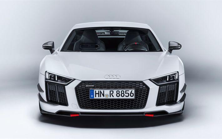 Descargar fondos de pantalla 4k, supercars, Audi R8, 2018 coches, blanco r8, Audi