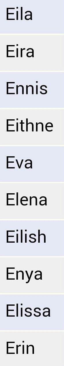 Baby girl names list starting with an E. From behindthename.com