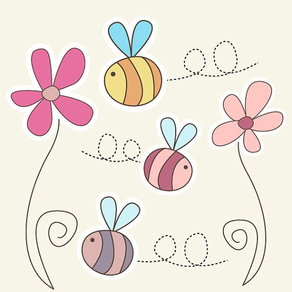 Cute Bumble Bee Clipart set - 2 Flowers and 3 Bees - Great for Scrapbooking, Cardmaking and Paper Crafts. via Etsy