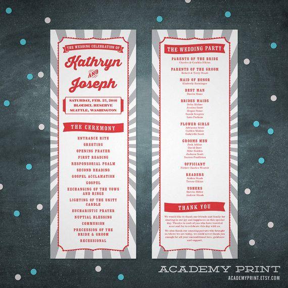 Carnival Wedding Program Printable Circus Wedding by AcademyPrint