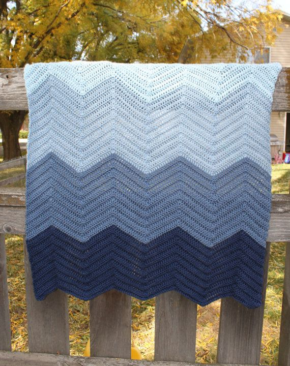 Ombre Blue Chevron Crochet Baby Afghan Blanket By