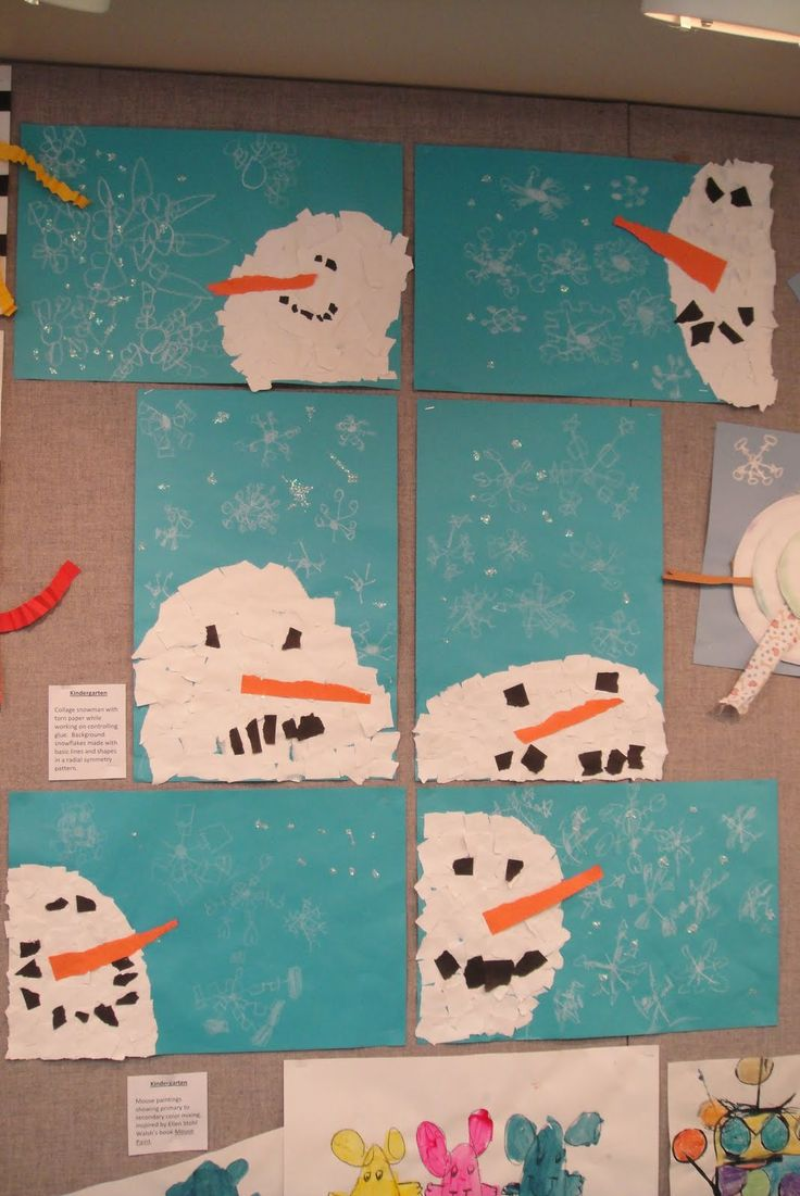 Collage snowmen with radial symmetry snowflakes