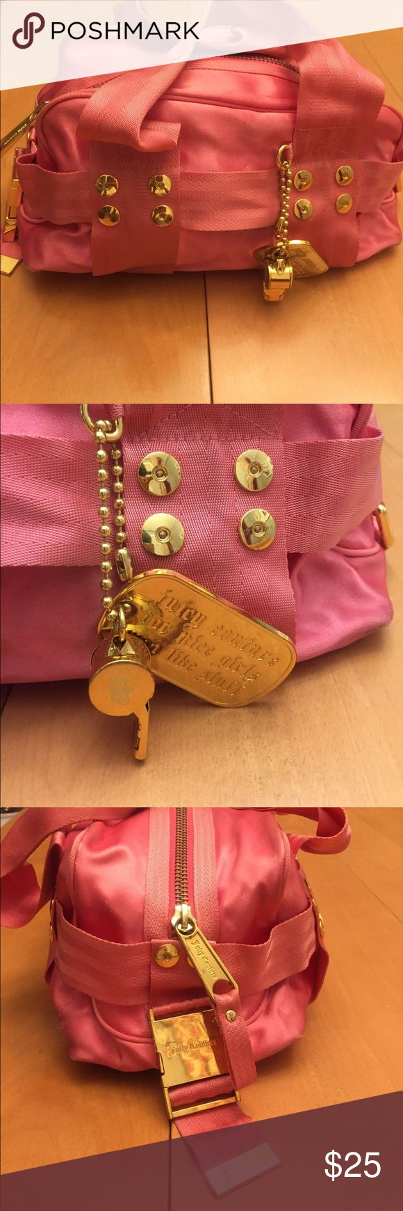 Pink and Gold Juicy Couture Handbag Bright Pink, silky material with gold hardware. Juicy Couture Bags Totes