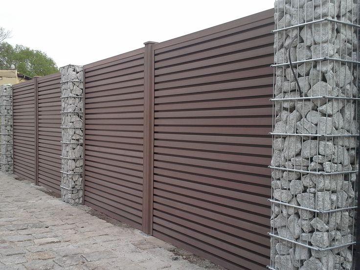 Połączenie gabionów z ogrodzeniem kompozytowym