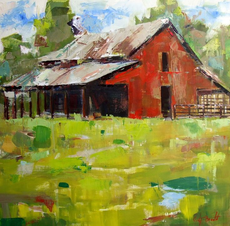 """Big Red Barn"" original oil painting by Alabama artist Gina Brown"