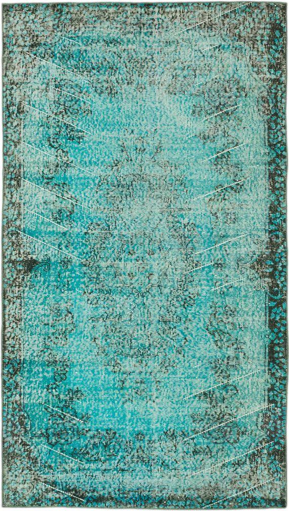X Turquoise Blue Green Turkish Overdyed Rug Indigo Lavender 1