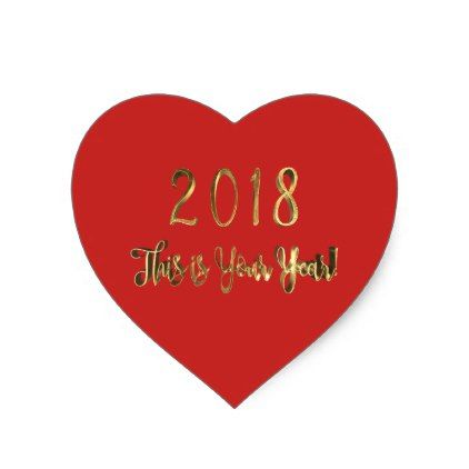 Happy New Year 2018 Motivational Red Gold Heart Sticker - New Year's Eve happy new year designs party celebration Saint Sylvester's Day