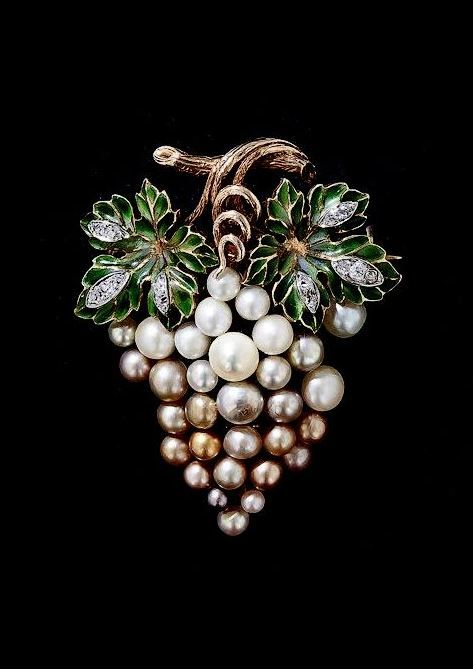 Antique Plique-a-Jour Enamel and Natural Pearl Grape Cluster Brooch.
