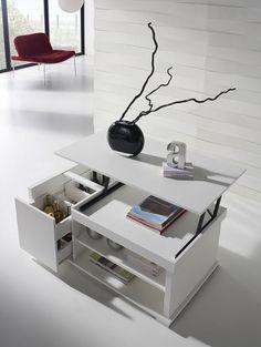 Découvrez et rangez avec la table basse relevable FAMOUS ! Son style moderne vous fera craquer avec ses nombreux rangements ! Original !