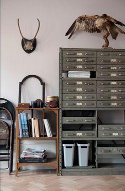 50s metal filing cabinet; docs, records, bills etc.
