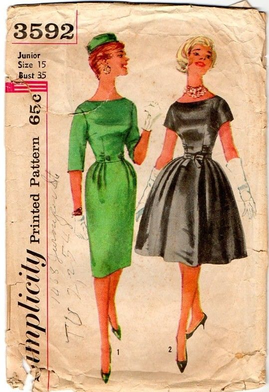 Vintage 1960s Slim Cut Dress with Bateau Neckline Pattern B35