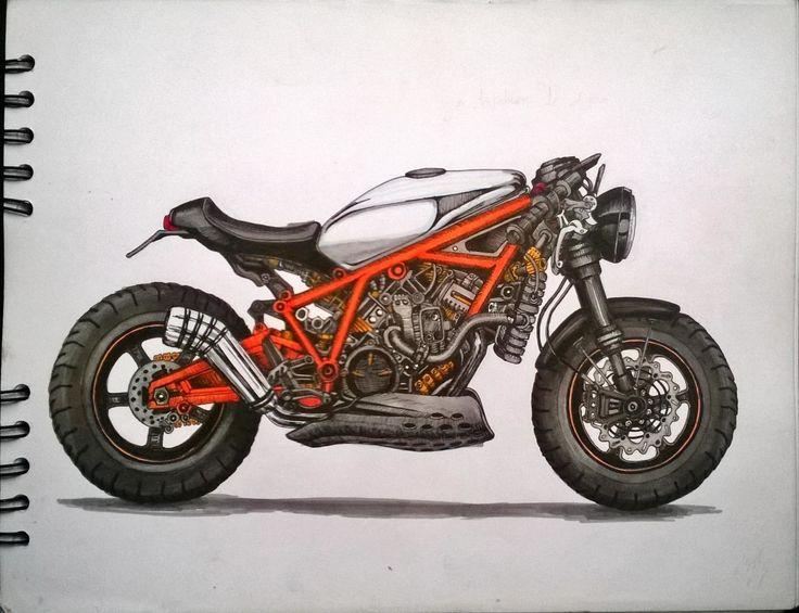Motorbike Sketch. marcadores, markers, ilustración, illustration.