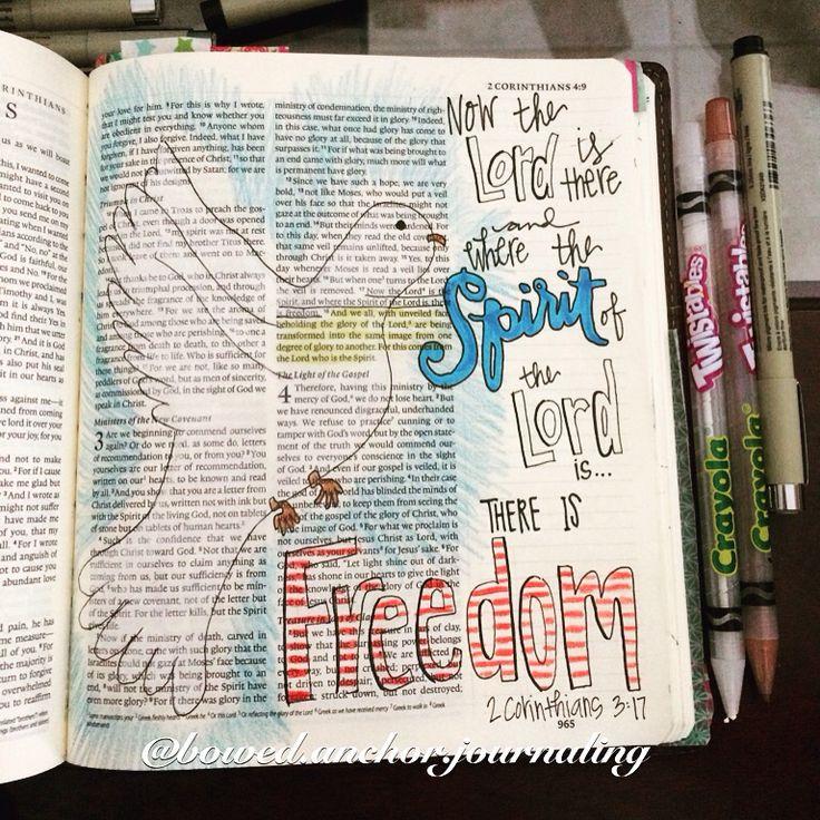 2 Corinthians 3:17 @bowed.anchor.journaling #illustratedfaith #biblejournaling