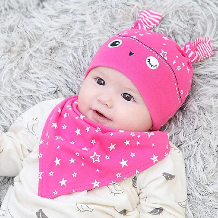 2 pcs/set hot penjualan topi baru lahir oto bayi boy gadis cap balita bayi indah kelinci beanie baberos