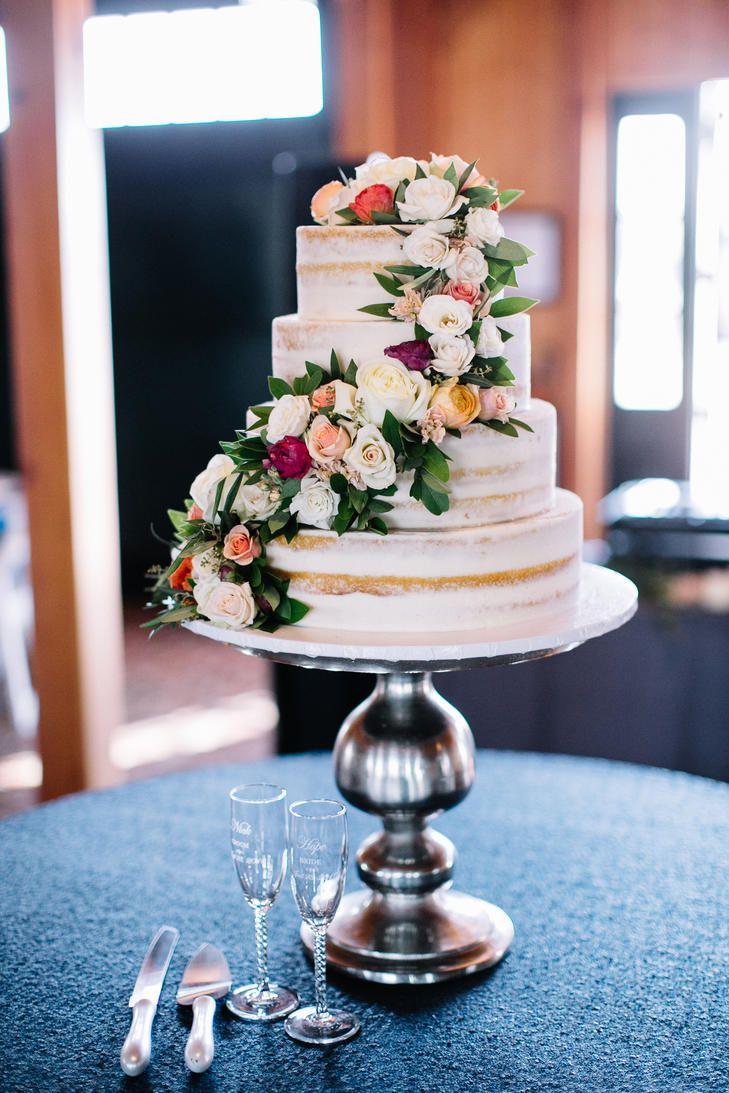 Naked cake with rose garland