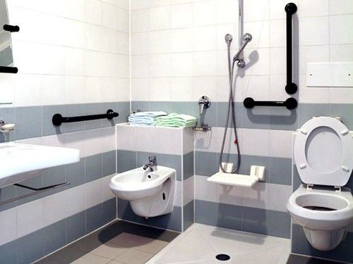 Bathroom for disabled people with stylish equipment - Bathroom design for disabled ...