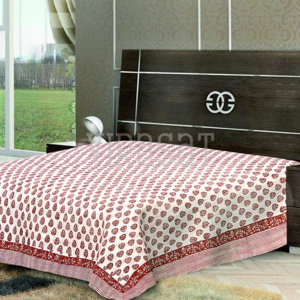Lovely Red White Shades Floral Print Double Bed Sheet