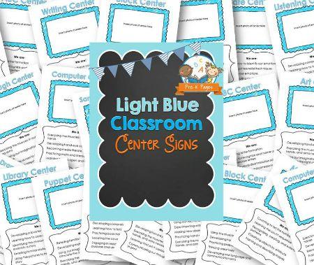 "<span itemprop=""name"">Classroom Center Signs – Light Blue</span>"