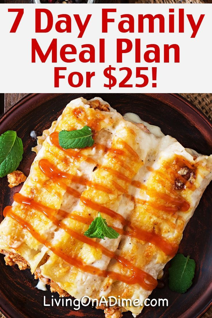 7 Day Meal Plan for 25 Cheap And Easy Family Meals