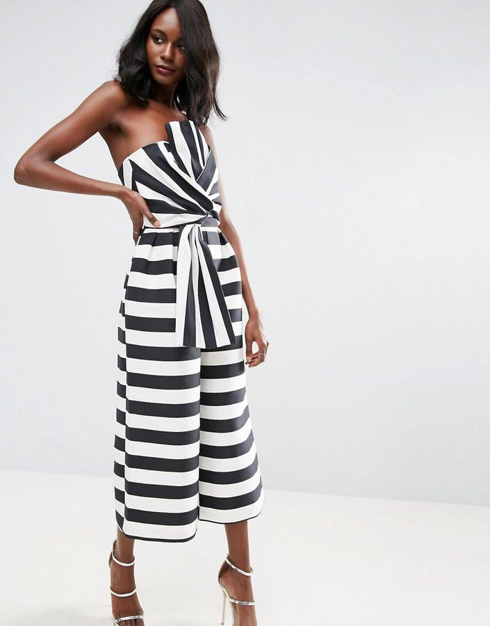 ASOS Jumpsuit in Structured Stripe with Knot and Drape Detail