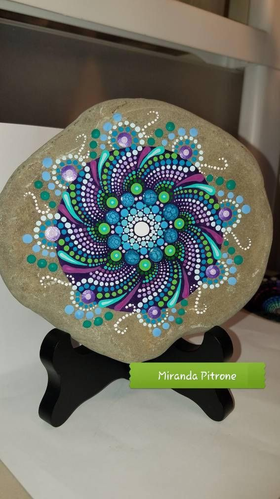Large hand painted stone From the shores of Lake Erie Size: approx. 5.5 inches in diameter Protective UV resistant varnish so colors will not fade