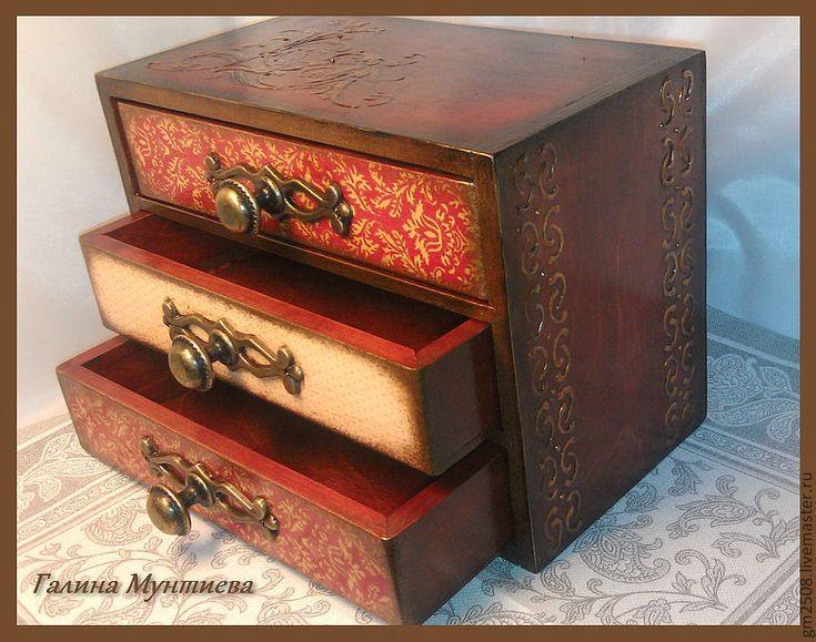 """Купить Комодик для украшений """"Старые узоры"""". - бордовый, мини-комод, стильный подарок, шкатулка для мелочей"""