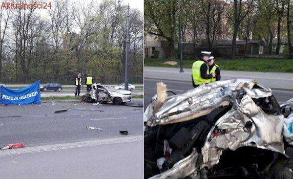 Samochód rozerwany na pół, kierowca nie żyje. Tajemniczy wypadek w centrum Łodzi