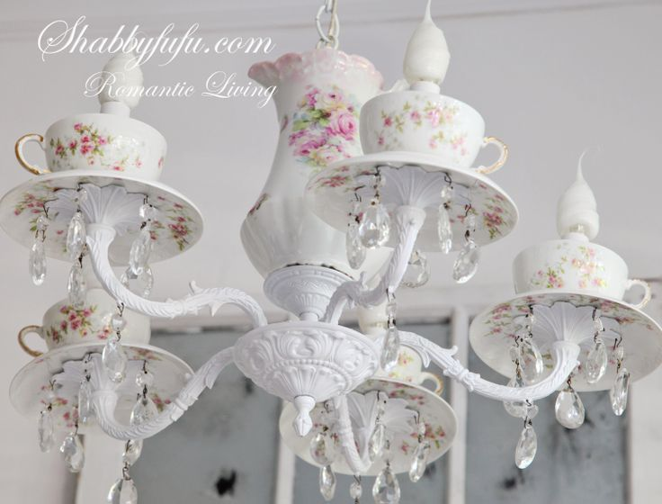 Tea Pot Cups Saucers Chandelier