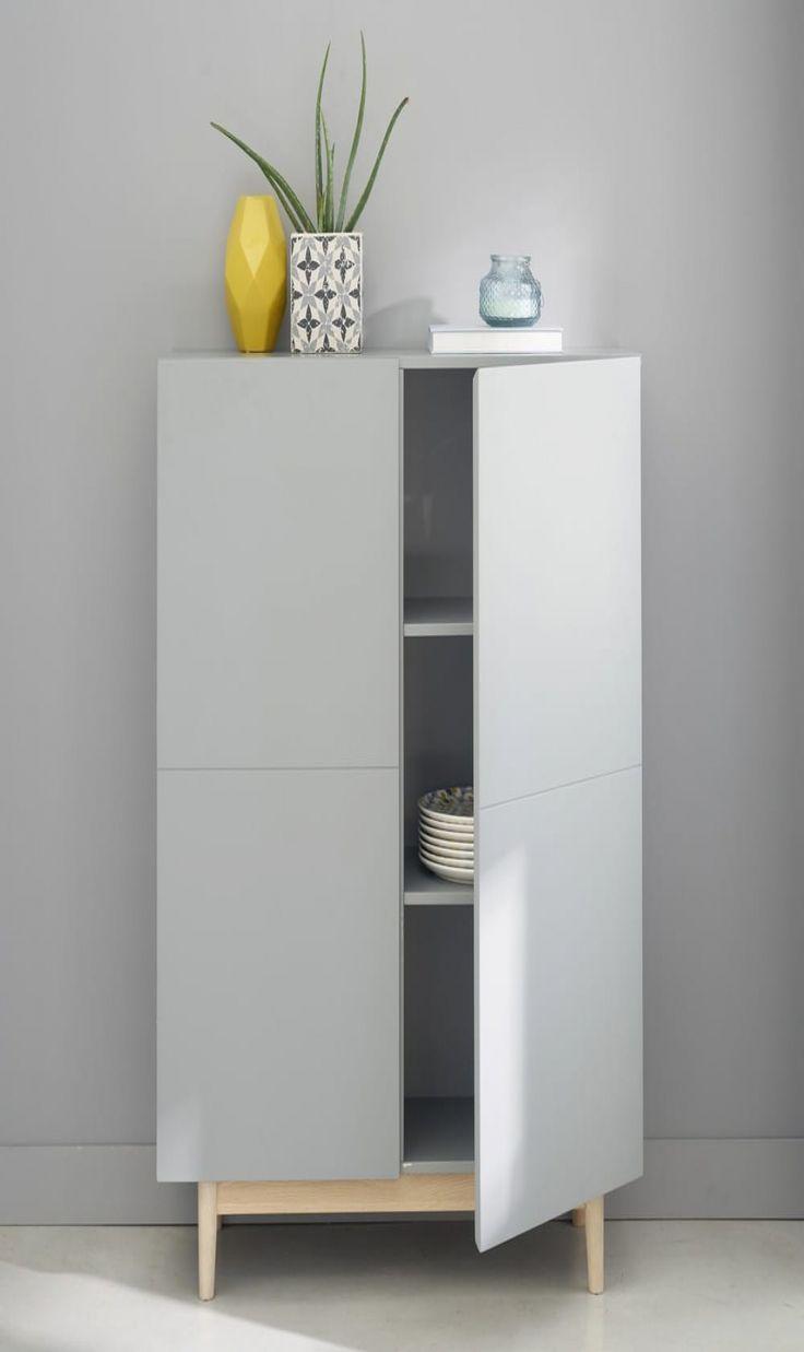 Mit 2 Kleiderstangen Schrank Mit 2 Türen Grau Artic in ...