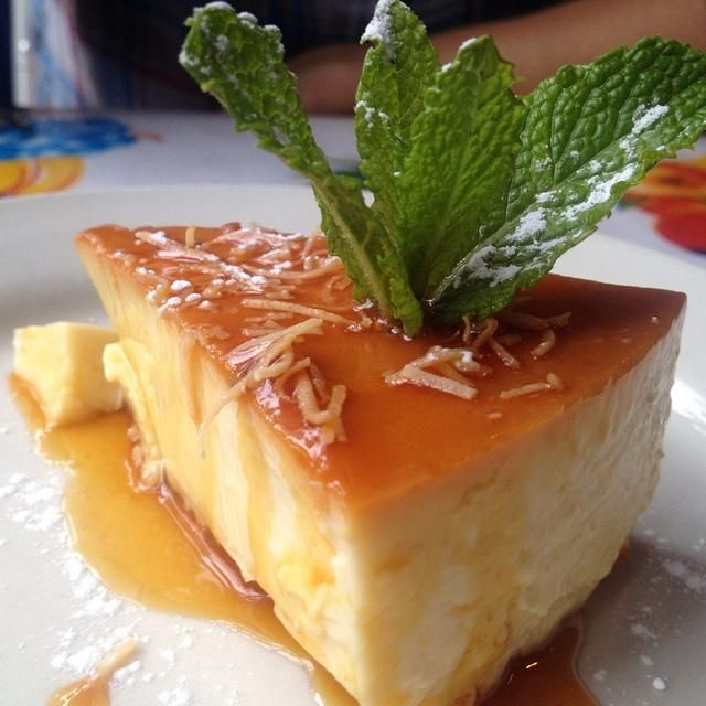 ... coconut rum flan? Don't know yet what makes it Cuban...maybe the rum