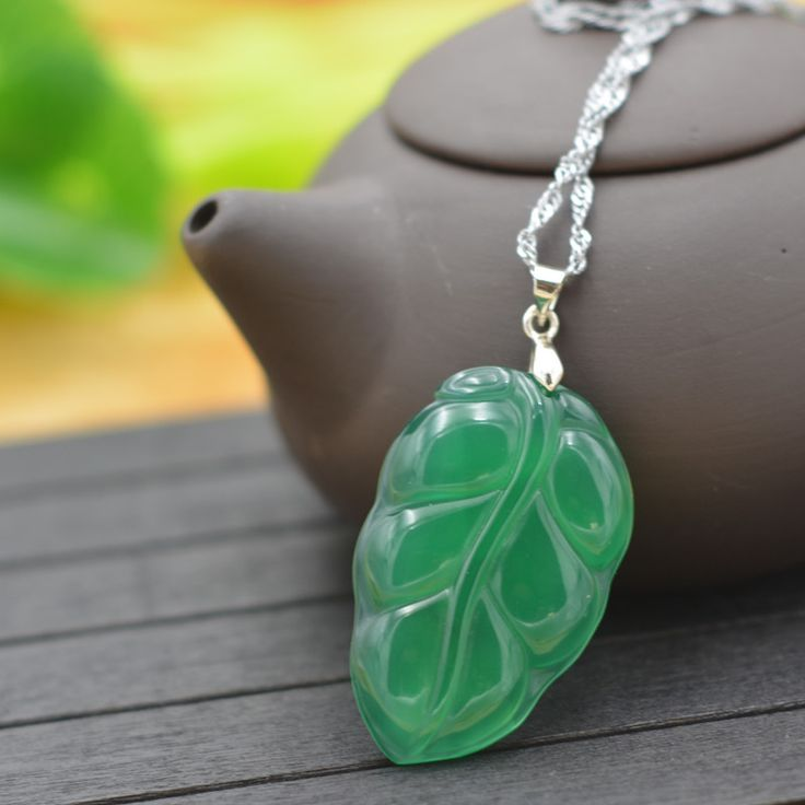 Natural Green Chalcedony Jades Stone Pendant Necklace Carved Leaves Pendant Gift for Women's Jades Stone Jewelry Free Rope #Affiliate