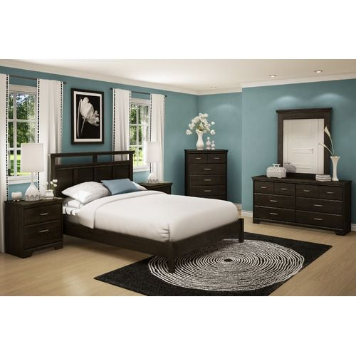 Dark wood furniture with enticing teal paint to brighten up the bedroom. Guest room??*