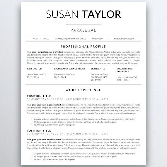 Modern Resume Template for employees in law industry. #resume  #resumetemplate #lawyer #paralegal #assistant