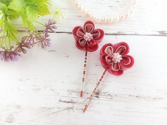Pink Plum Blossom Hair Pins Kanzashi Flower Hair Pins  https://www.etsy.com/HandcraftKu/listing/532617586/pink-plum-blossom-hair-pins-kanzashi #etsyfinds #etsyaccessories #handmadeaccessory #flowerhairpin #bridalhairpins #bridesmaids #hairpins #hairaccessories #tsumamikanzashi #pinkflower #plumblossom #giftideas #giftforher #kanzashi #kanzashiflower #tsumamizaiku #fabricflower #japanesekanzashi #buyhandmade #handmadewithlove
