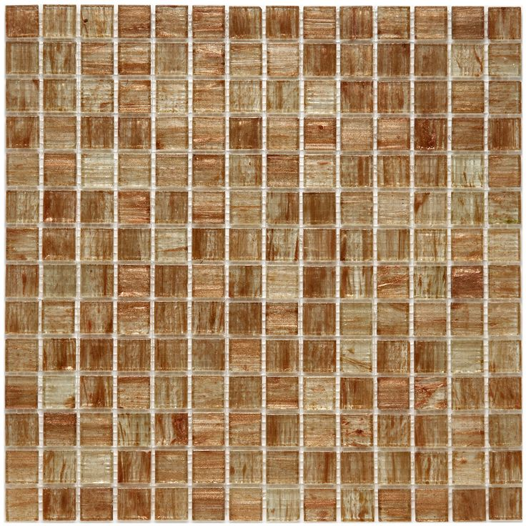 SomerTile 12x12-in Cuivre 1-in Tan Gold Translucent Glass Mosaic Tile (Case of 13) | Overstock.com