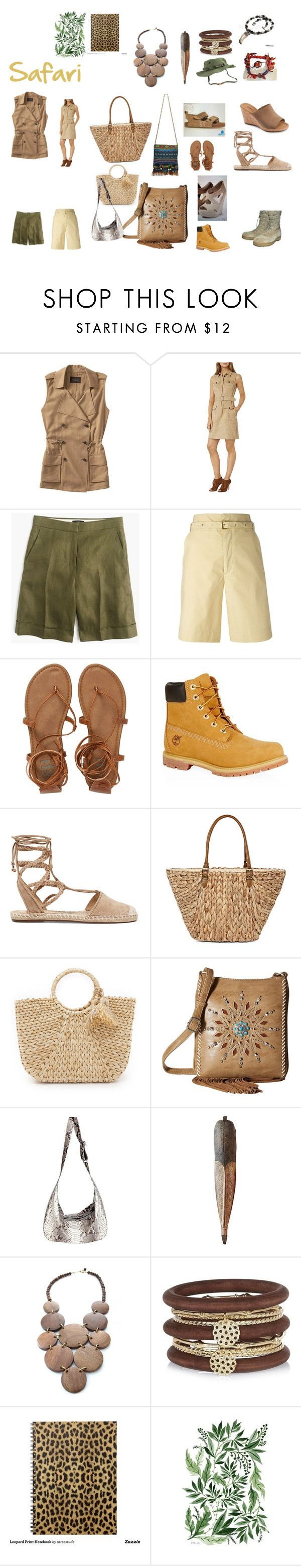 """Safari"" by silvia-av ❤ liked on Polyvore featuring Banana Republic, Karen Millen, J.Crew, Isabel Marant, Billabong, Timberland, Schutz, Straw Studios, Hat Attack and M&F Western"