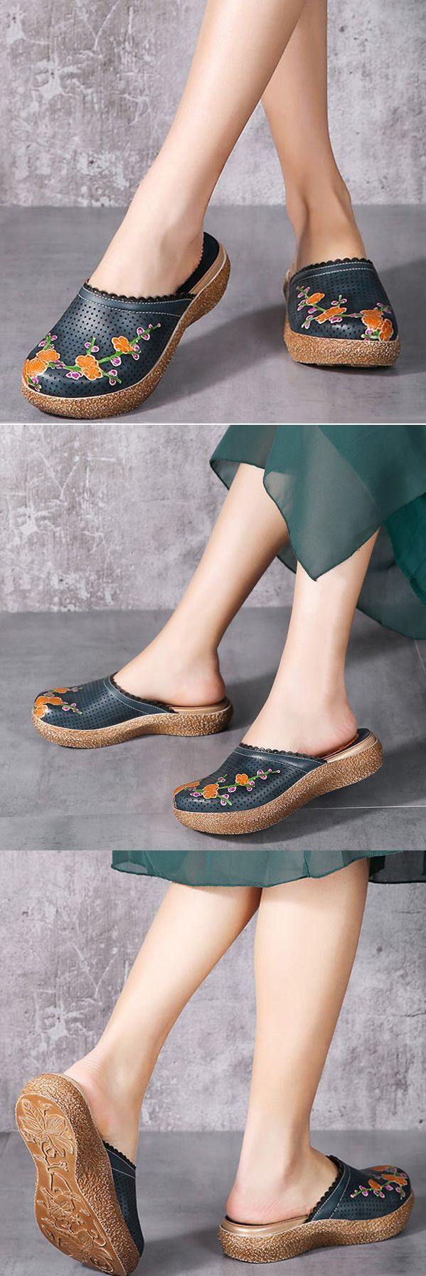 US$51.68 Socofy Original Breathable Flower Print Hollow Out Slippers Slip On Retro Sandals