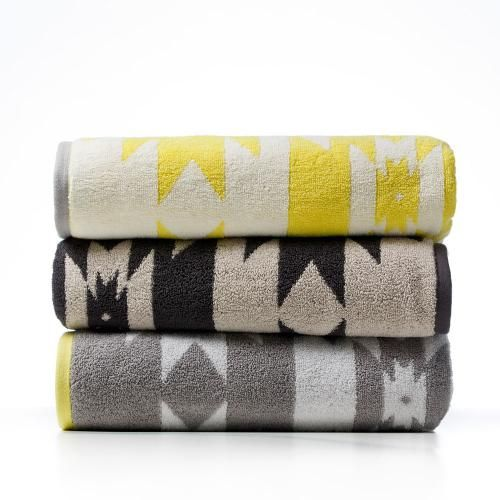 Adairs $20.95 - The Flinders Aztec towel range uses the finest combed cotton double yarn for a wonderfully dense construction and instant absorbency. Featuring a unique Aztec pattern and available in a range of contemporary colours this towel range will be enjoyed for many years to come.