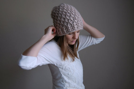 slouchy hat textured winter hat / the holocene / linen by ozetta, $40.00