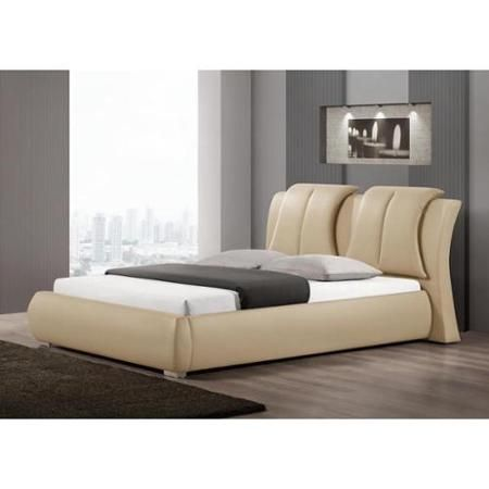 baxton studio malloy warm beige modern bed with upholstered headboard queen size