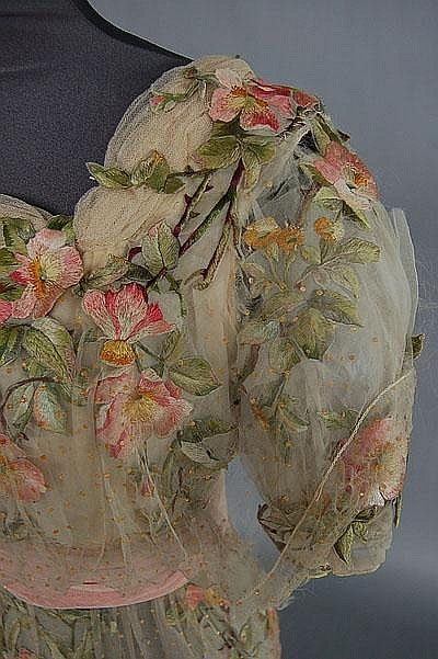 A rose embroidered bridal/evening gown circa 1912, - by Kerry Taylor Auctions